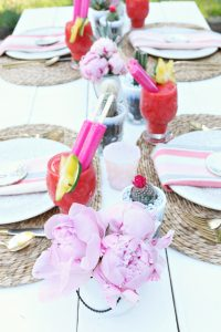 Outdoor Dinner Party peonies
