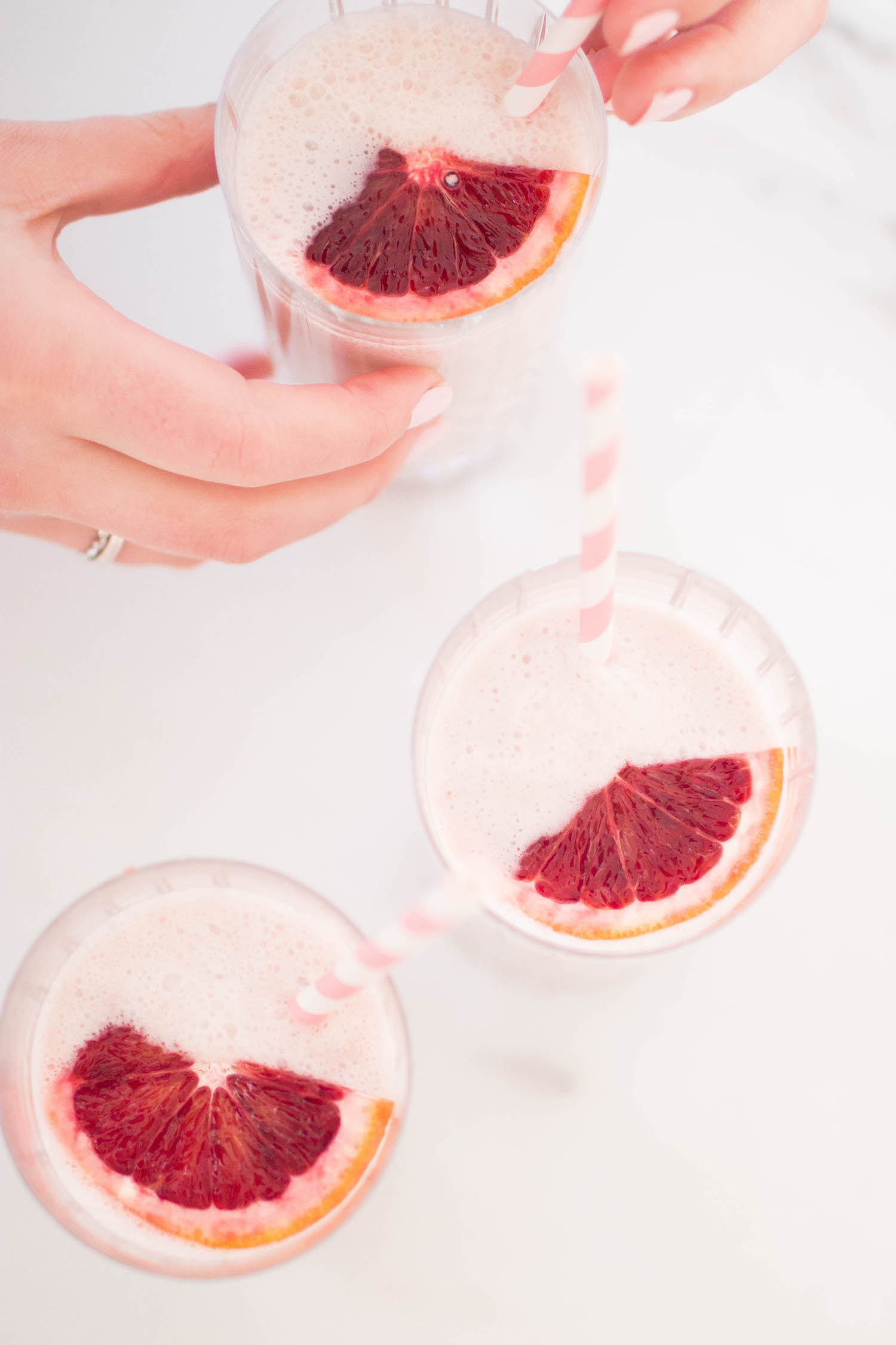 Blood Orange Smoothie glass with paper straws