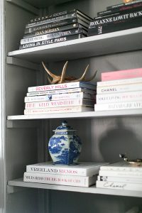 coffee table books and shelf organization