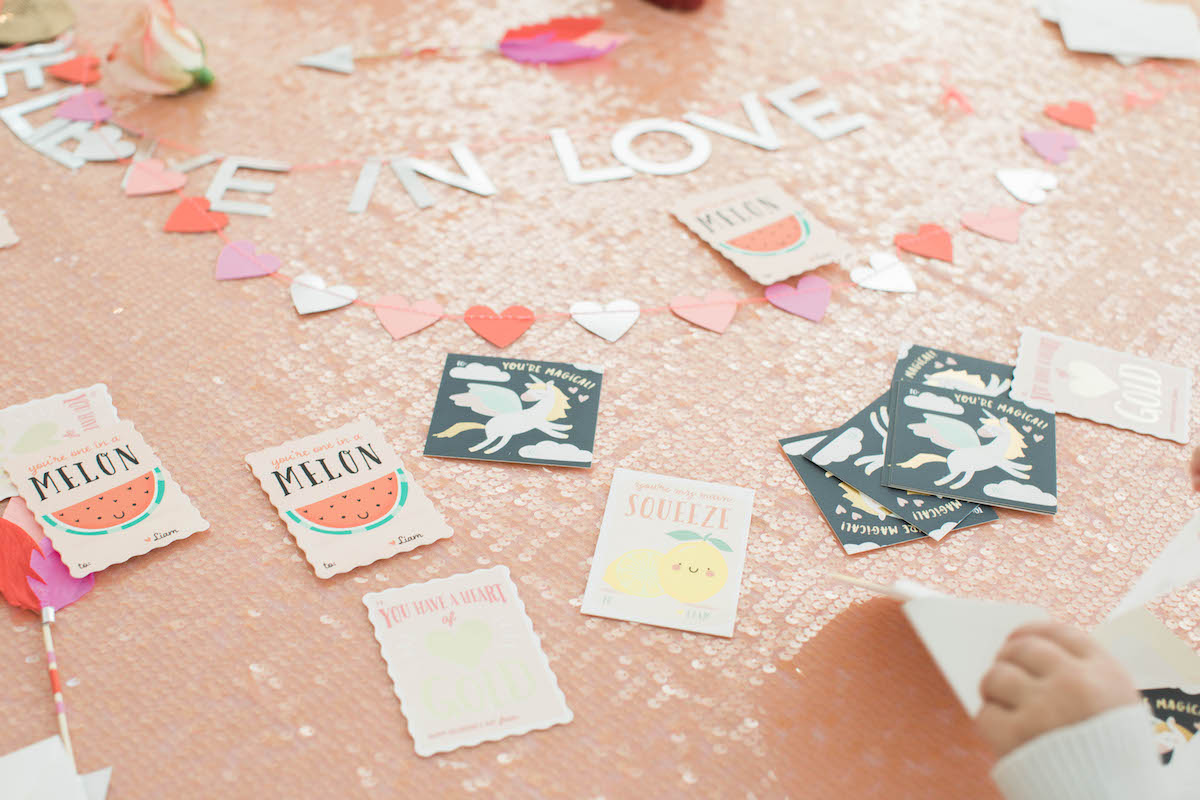 table filled with valentines cards