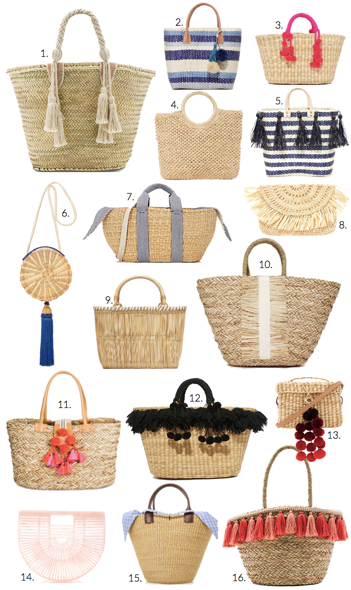 Straw summer beach bags totes