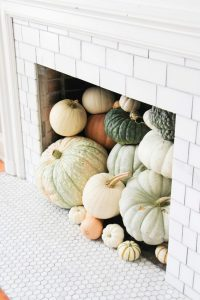 pumpkins in fire place
