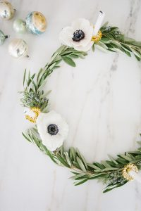 Olive branch wreath with ornaments on side