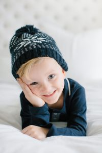 toddler boy with holiday toque