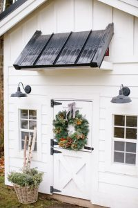 white playhouse christmas wreath and bow