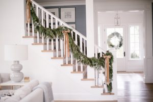 Staircase with garland and bows