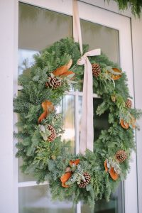 wreath with magnolia front door