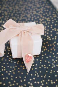 Gift with bow on star wrapping