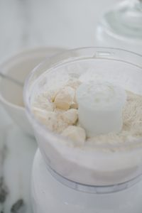 close up ingredients for cookie dough in food processor