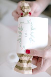 wrapping joy printable around christmas cracker