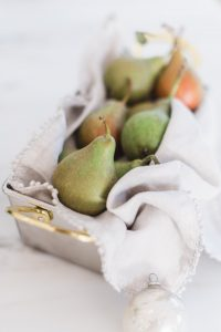 pears in tin with cloth