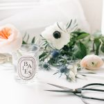 small bud vase , fresh florals and scissors