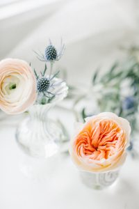 bud vases with florals