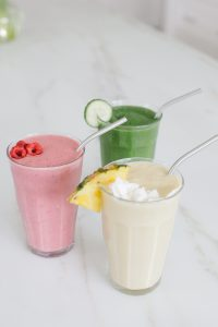 smoothies on counter tropical, green, strawberry
