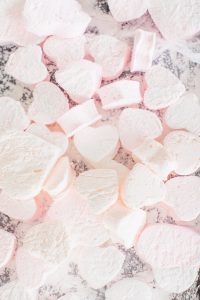 pink heart shaped marshmallows