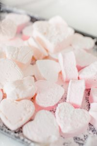 heart marshmallows piled up