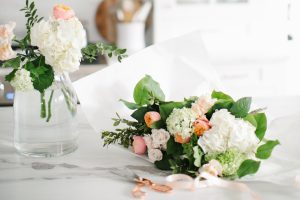 florals on marble countertop
