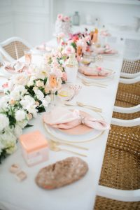 pink ombre floral arrangement on table
