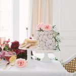 valentines tablescape with cake and cookies
