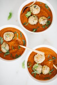turkey meatballs in tomato bisque with fresh basil