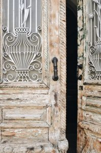 wooden door in Europe