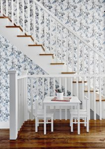 Blue and white wallpaper with staircase