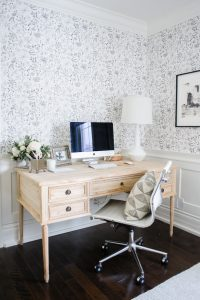 beautiful office with black and white wallpaper