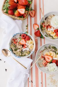 pretty oat bowls with coconut strawberry and banana