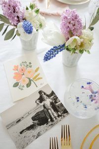 mothers day card on pretty spring table