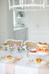 large strawberry trifle on spring table