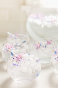 ice water with flowers and lavender