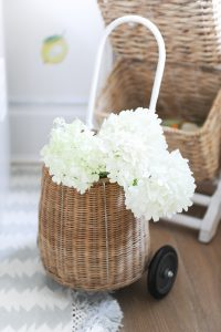 small wicker basket with flowers