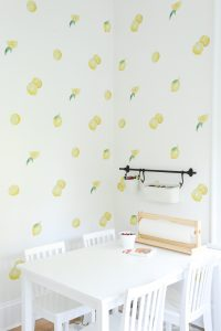 lemon wallpaper in kids art room