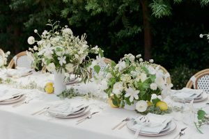 white floral centrepiece on table