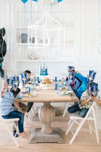 Transformers 5th birthday party set up