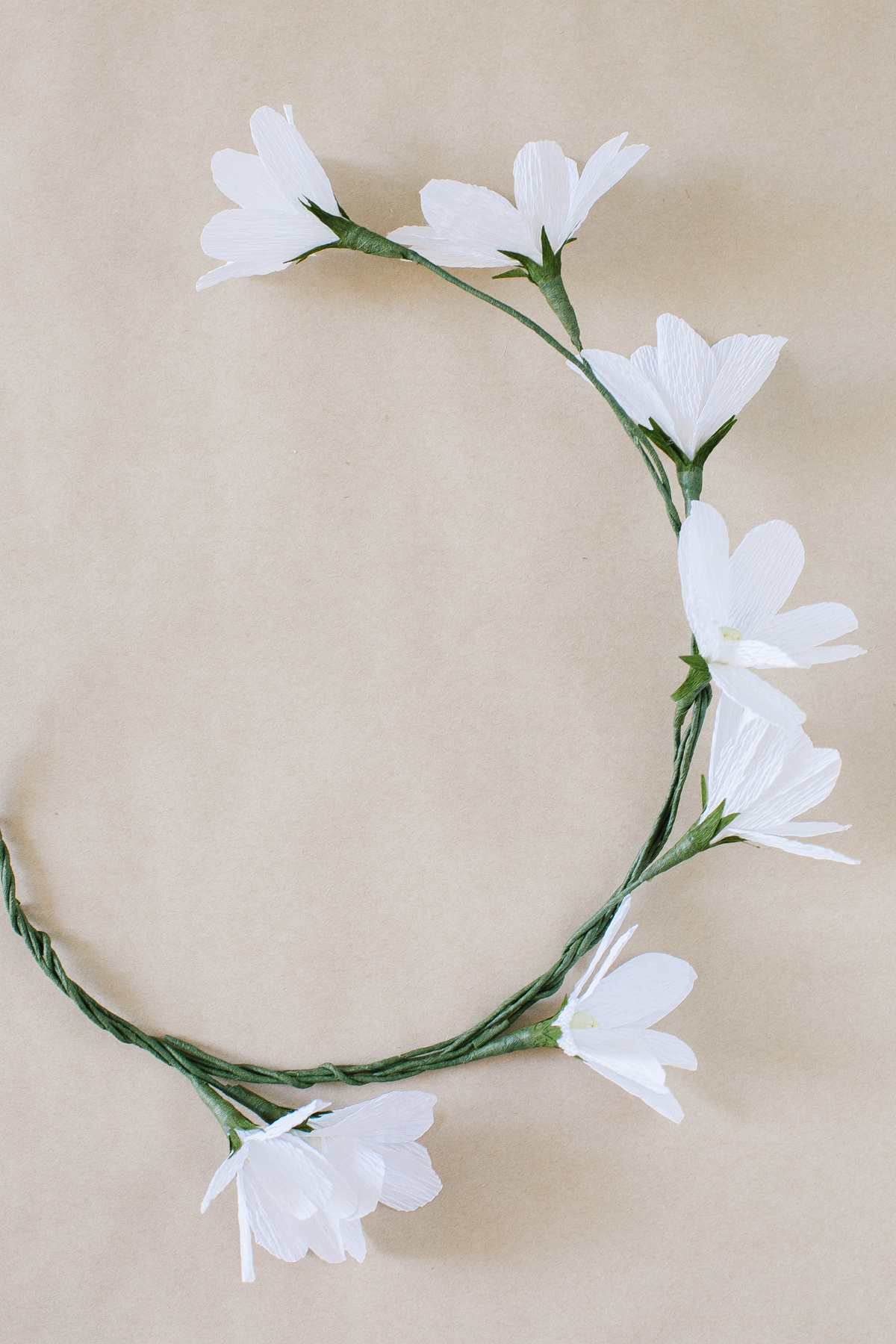 Diy crepe paper daisies with daisy crown monika hibbs if you are attempting a floral crown simply wrap and twist each stem around the next as you would with real blooms space out the daisies based on how izmirmasajfo