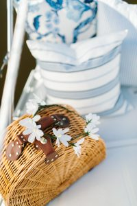 picnic basket with crepe paper flowers