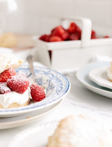 cornmeal shortcakes with raspberries and whipped cream