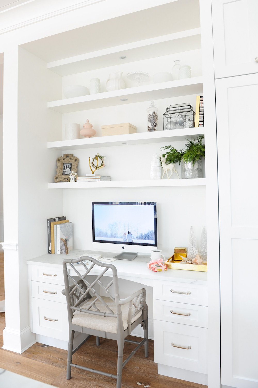 Kitchen Desk with floating shelves