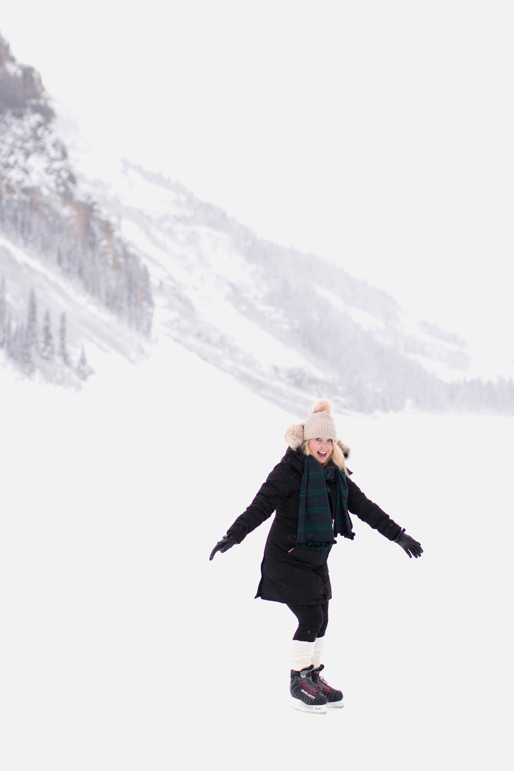 Monika Hibbs Iceskating on Lake Louise Banff