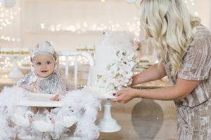 baby girl's first birthday swan lake