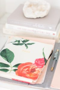 flower agenda on white marble desk