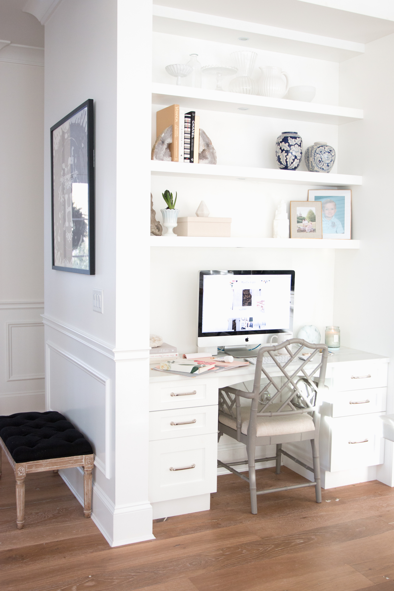 office space in white kitchen