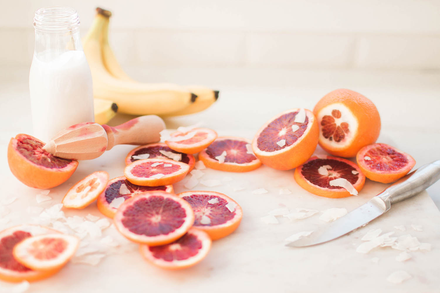 Sliced Blood oranges for smoothie