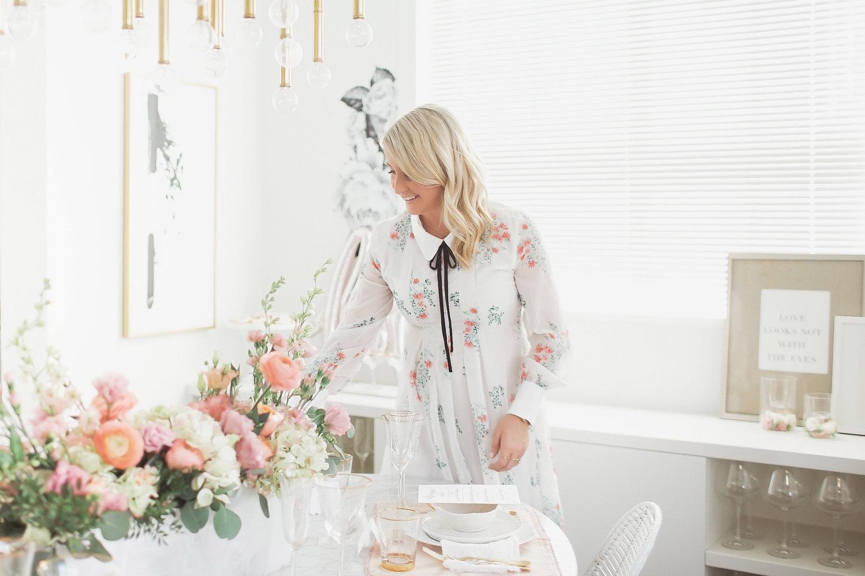 Monika Hibbs setting Valentine's Day table