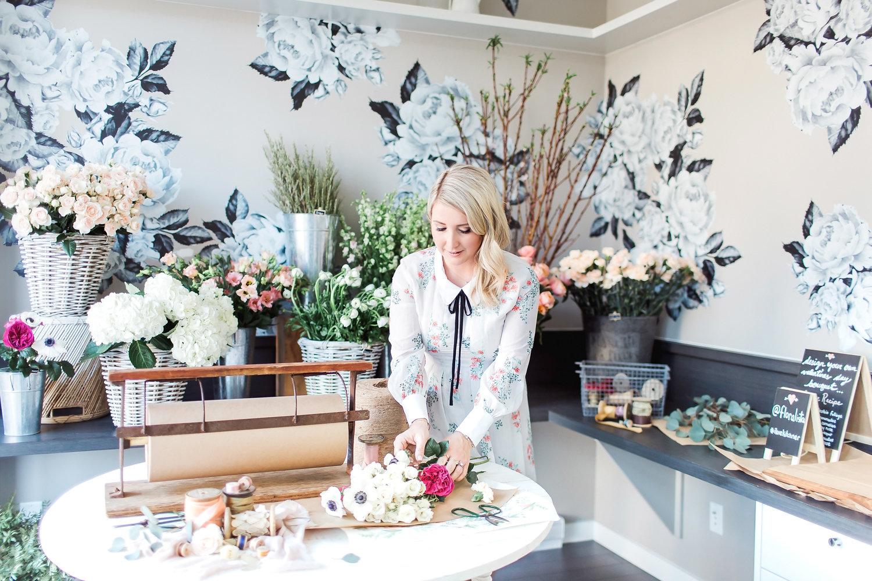 Monika Hibbs making flower arranment