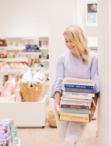 monika hibbs holding books
