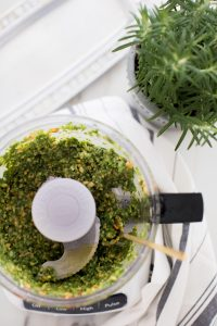 pesto with fork and plant