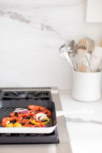 Fry pan with peppers and onions