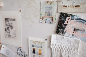 close up of pictures on pin board